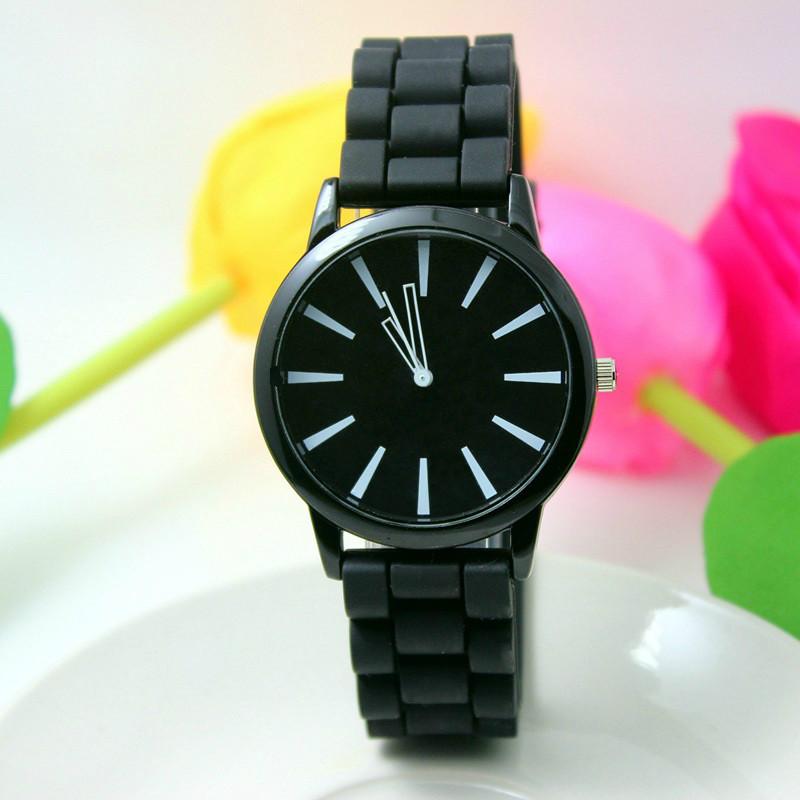 Женские часы силиконовые Geneva Casual Black черные