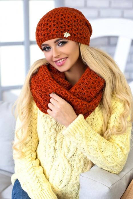 Зимний женский комплект «Денвер» (шапка и шарф-снуд) Терракотовый