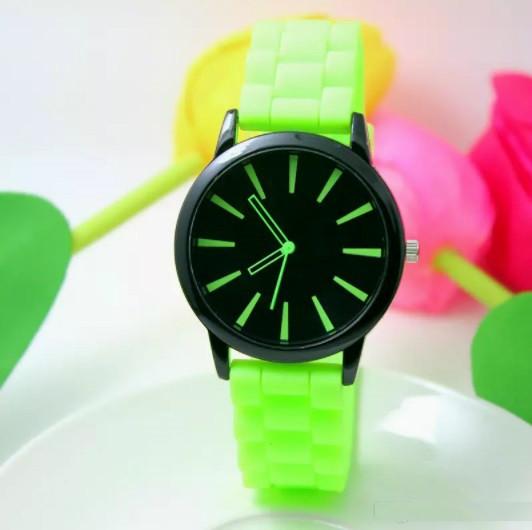 Женские часы силиконовые Geneva Casual Lime салатовые