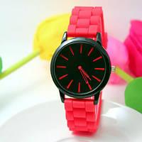 Женские часы силиконовые Geneva Casual Red красные, фото 1
