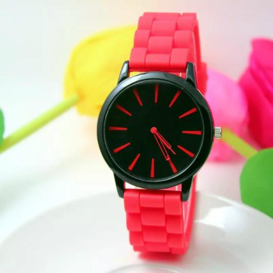 Женские часы силиконовые Geneva Casual Red красные
