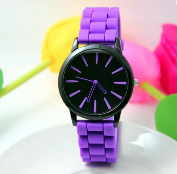Женские часы силиконовые Geneva Casual Purple фиолетовые
