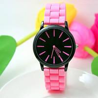 Женские часы силиконовые Geneva Casual Pink розовые