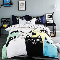 Постельное белье Cats саржа 100% хлопок комплект евро двуспальный кровать 2.0м