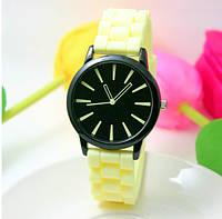 Женские часы силиконовые Geneva Casual Citron лимонные, фото 1