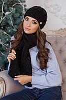 Зимний женский комплект «Камелия» (шапка и шарф) Черный