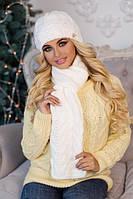 Зимний женский комплект «Камелия» (шапка и шарф) Белый