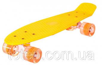 Скейт Пенни борд (Penny board), светятся колёса MS 0848-2,  желтый