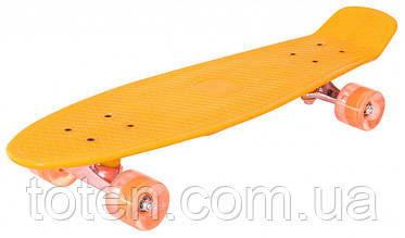 Скейт Пенни борд (Penny board), светятся колёса MS 0848-2,  оранжевый