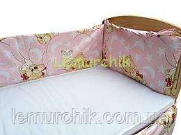 """Защита для детской кроватки 120х60 см, """"Мишки спят"""" розовая"""