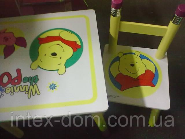 """Детский столик и два стульчика из дерева """"Винни-Пух"""" BB 08806 киев"""
