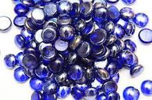 Камни для декора стеклянные круглые синие d 2 см