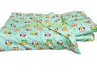 Постельный набор в детскую кроватку (3 предмета) Совушки салатовый