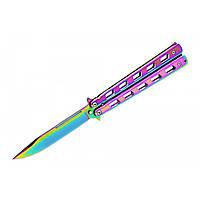 Нож бабочка или балисонг Хамелеон. Универсальный многоцелевой ножик складной для охоты, рыбалки  трюков. Не ХО