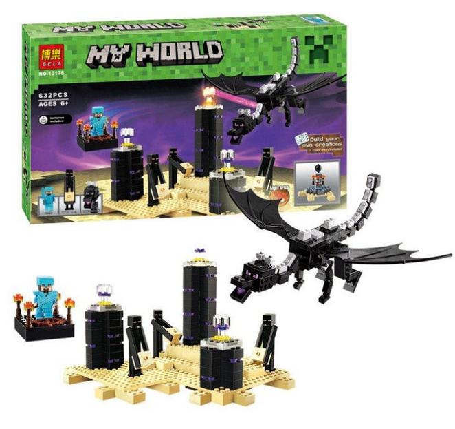 """Конструктор Bela Minecraft 10178 """"Дракон Края Эндер"""" (аналог LEGO 21117), 632 детали"""