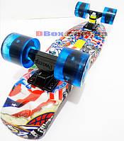 "Скейт Пенни борд Penny Style LUX 22"" Multi Flag с рисунком + светящиеся колеса + гравировка ""Penny"""