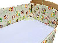 """Защита для детской кроватки 120х60 см, """"Совушки"""" бежевая"""