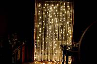 """Новогодняя гирлянда штора (бахрома, дождик) на окно """"Шикарные огни"""""""