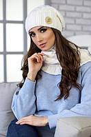 Зимний женский комплект «Вираж» (шапка и шарф-хомут) Белый