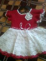 Вязаное летнее нарядное платье на девочку