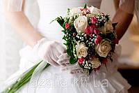 РОЗА белая+кустовая в свадебном букете