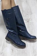 Зимние кожаные сапоги темно-синие