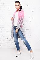 Кардиган Лало меланж серый+розовый, фото 1
