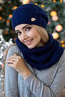 Зимний женский комплект «Нобелия» (шапка и шарф-хомут) Джинсовый