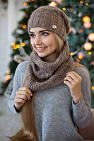 Зимний женский комплект «Нобелия» (шапка и шарф-хомут) Темный кофе