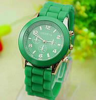 Женские часы силиконовые Geneva Luxury Green зеленые, фото 1