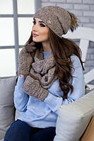 Зимний женский комплект «Арианда» (шапка, снуд и перчатки) Темный кофе
