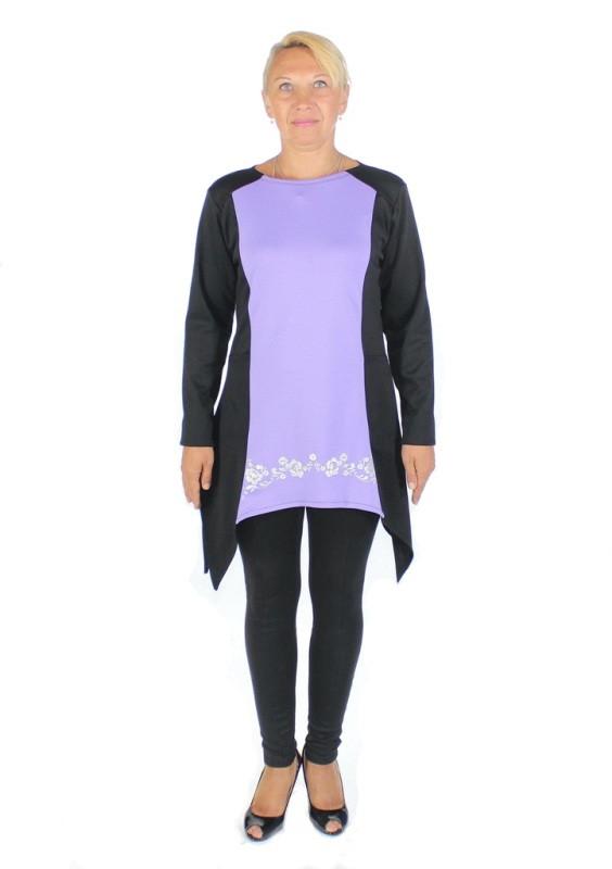фото teens.ua - платье с треугольными фалдами - вставка сирень - узор Аленушка