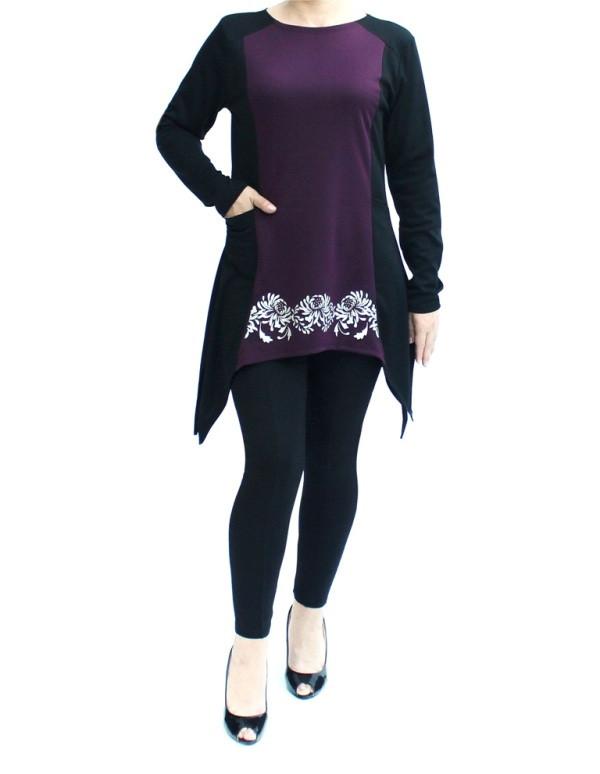 фото teens.ua - платье с карманами на фалдах - осенний узор Хризантемы - вставка бордо
