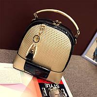 Рюкзак сумка женский с брелком-подвеской (золотой)