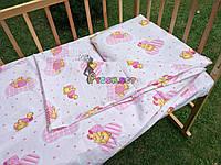 Постельный набор в детскую кроватку (3 предмета) Мишка в пижамке нежно-розовый, фото 1