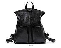 Сумка рюкзак женская  с двумя карманами (черная)