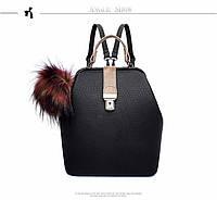 Сумка женский рюкзак с меховым помпоном (черная)