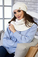 Зимний женский комплект «Бетти» (шапка и шарф-хомут) Белый