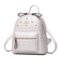 Рюкзак женский с заклепками (белый)