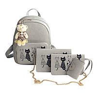 Рюкзак женский Коты 4 в 1 (серый)