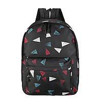 Рюкзак женский городской с геометрическим узором (черный)