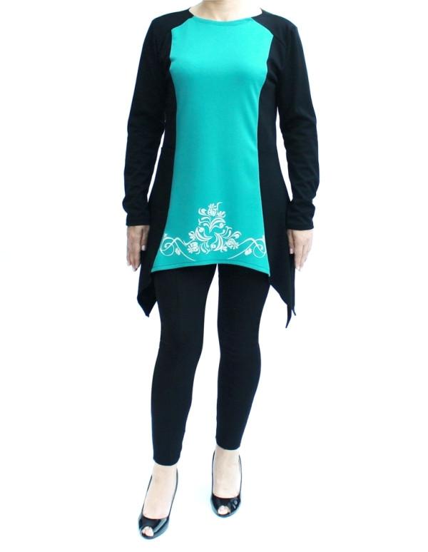 фото teens.ua - вставка волна - узор Винтаж - платье с карманами и разрезными фалдами