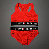Женский комплект Tommy Hilfiger красный | топ + слипы L