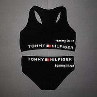 Женский комплект Tommy Hilfiger черный   топ + слипы M