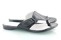 Черные кожаные шлепанцы 31-09