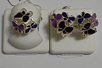 Серебряный комплект с эмалью Три бабочки, фото 1