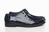 Женские синие лаковые туфли 857-01