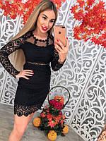 Красивое кружевное платье с вышивкой длинный рукав
