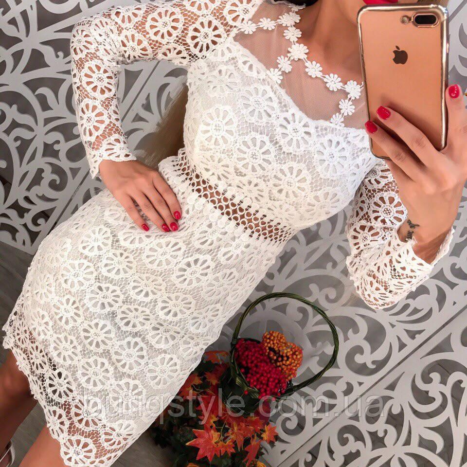 Красивое кружевное платье с вышивкой длинный рукав белое, розовое
