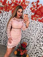 Красивое кружевное платье с вышивкой длинный рукав только розовое